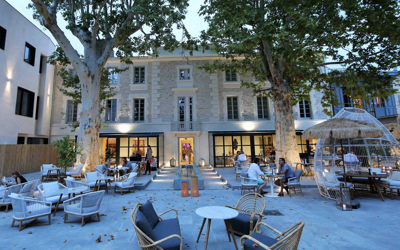 Hotel in Provence France at night
